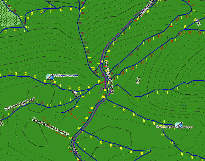 Notice the mtb:scale Overlay and the purple route=mtb
