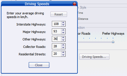 Driving Speeds Mapsource